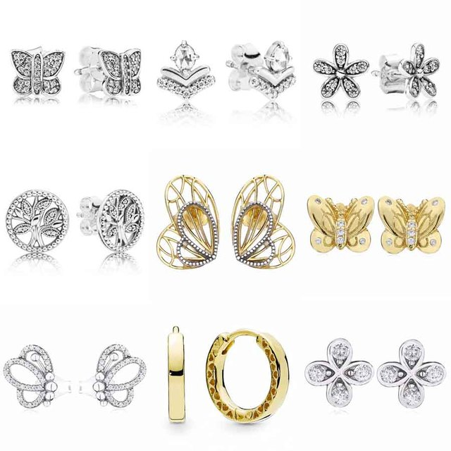 e56af0795 Classic Wish Lucky In Love Clover Beauty Butterfly Earring 925 Sterling  Silver Earrings For Women Party Gift DIY Pandora Jewelry