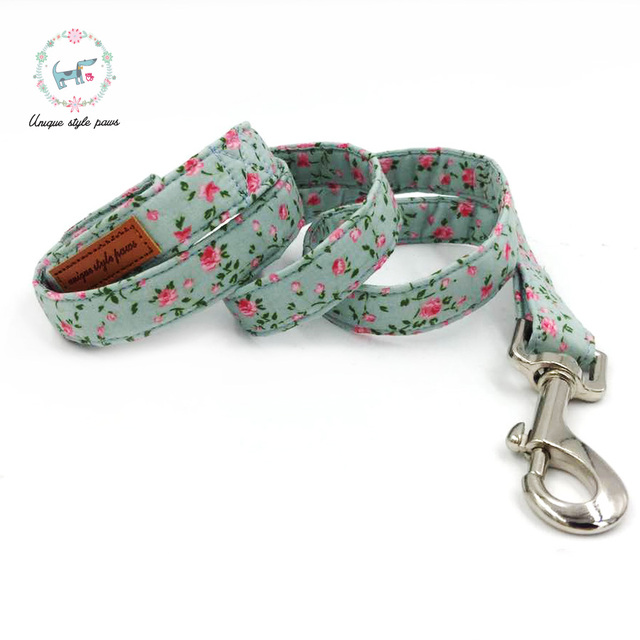Rose Floral Collar and Leash Set with Bow Tie 2