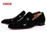 OMDE черные замшевые мужские туфли слипоны с квадратным носком мужские туфли итальянский стиль Летние кожаные туфли мужские повседневная об