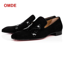 OMDE Black Suede Mens Shoes Square Toe Slip-on Men's Dress Shoes Italian Style Summer Leather Shoes Men Casual Flats Plus Size suede slip on mens shoes