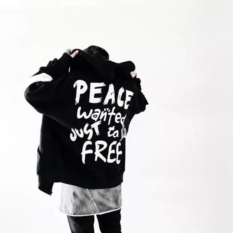 2018 marque Automne Hommes Femmes Hommes Hip Hop loisirs impression veste Mode Chapeaux Sweats Paix Sweat À Capuche Noir Blanc manteau