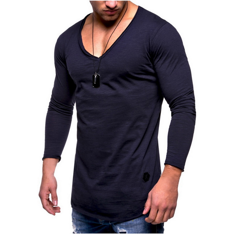 Puimentiua 2019 Spring Men Hot Cotton V Neck T Shirts Male Long Sleeve Solid Plain Classic Slim Fit Tshirt Workout Tee Top