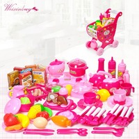 Kids Kitchen Educational Toy Cheap Classic Gift Cooking Toys For Children 63PCS Deluxe Tableware Pretend Play Cutting Food Set