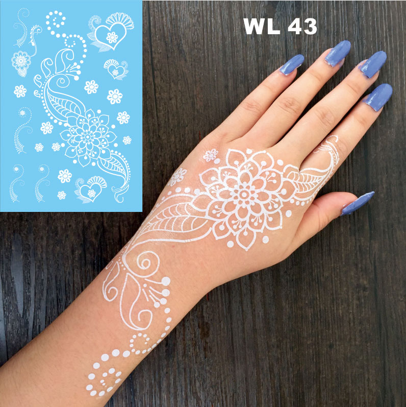 Wl 43 pure mandala flower white henna temporary tattoo for White temporary tattoos