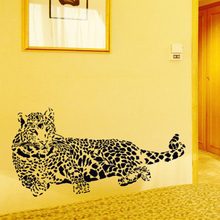 Black PVC Wall Stickers Cheetah Leopard 3D Removable Wall Decals Home Decor Stickers Free Shipping