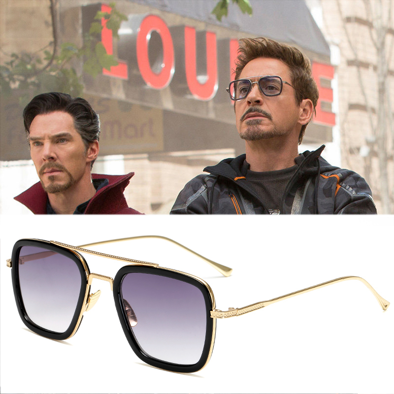 Avengers Tony Stark Sunglasses Top Vintage Transparent Glasses Women Men Iron Man Sunglasses Gold Metal Glasses Frame Goggle in Men 39 s Sunglasses from Apparel Accessories