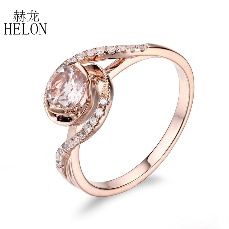 HELON Solid 14k (585) Rose Gold Natural Diamonds Engagement Wedding Ring Anniversary Party Fine Jewelry 6mm Round Cut Morganite solid 14k rose gold 4 5mm round cut natural morganite engagement ring si h full cut natural diamonds wedding ring fine jewelry