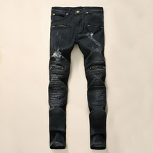 High Quality Mens Ripped Biker Jeans 100% Cotton Black Slim Fit Motorcycle Jeans Men Vintage Distressed Denim Jeans Pants