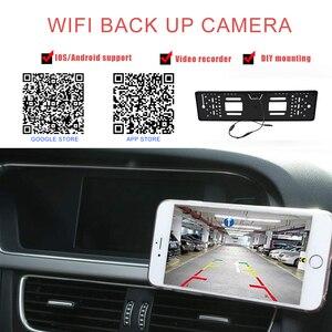 Image 4 - Marco de matrícula de coche europeo, cámara Wifi, cámara de estacionamiento de respaldo, cámara de visión trasera inversa para Android IOS