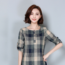 2017 new Plaid Shirt Women Cotton Linen Blouse 2017 Autumn Long Sleeve Checked Shirts Female Casual Tops Blusas Femininas 926F turndown collar checked linen shirt