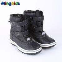 Mingkids snow boots for boy winter shoes anti-slip Mid-Calf waterproof warm plush fleece lining 3M Rubber European size black