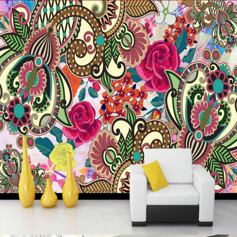 Bohemian Flower Art 3D Wallpaper for Walls 3d Decorative Wall Paper Background Painting Mural Wallpapers Home Improvement home improvement decorative painting wallpaper for walls living room 3d non woven silk wallpapers 3d wall paper retro flowers