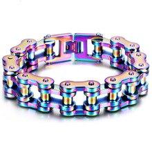 лучшая цена Cool Heavy Men Biker Bicycle Motorcycle Link Chain Men's Bracelet & Bangle Fashion Punk Colorful Stainless Steel Jewelry