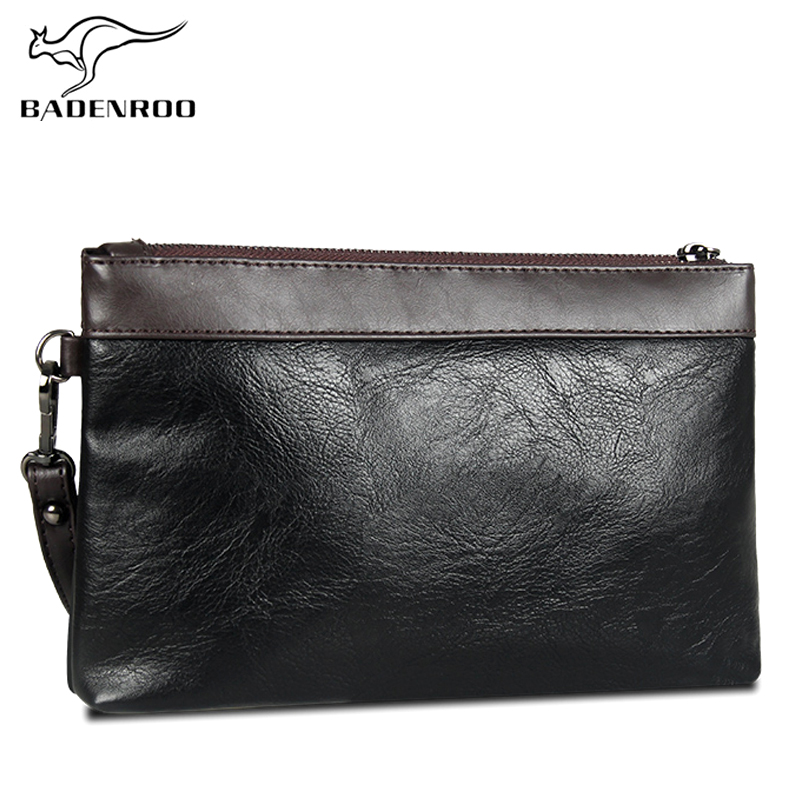 Badenroo Hot Sale Simple Men Clutch Bag Wallet Handy Bag Brand Leather Handbags Day Clutches Luxury Male Large Purses Monederos