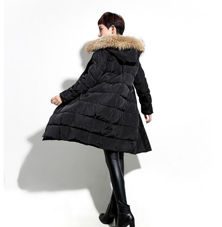 Taille D'hiver Épais Duvet Veste Slim Femmes La Plus De Garniture Vers Bas Capuchon Le Manteau Noir À Fourrure FK1clJ