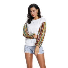 2019 European and American women's jacket with round collar medium and long bottom shirt spliced with color striped sleeves color block zig zag spliced stereo patch pocket slimming stand collar long sleeves jacket for men
