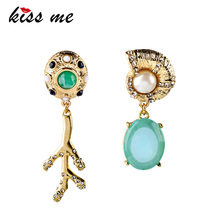 New Designs 2013 Fashion jewelry  Graceful Rhinestone Snail Branch Asymmetrical earrings a suit of graceful rhinestone faux turquoise necklace and earrings for women
