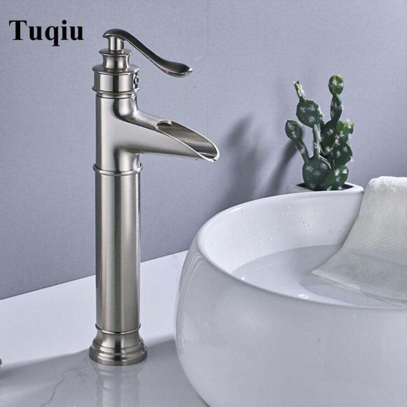 Nouveau nickel cascade robinet vintage bassin mélangeur cascade bassin robinet salle de bain mélangeur évier robinet bassin robinets vanité robinets