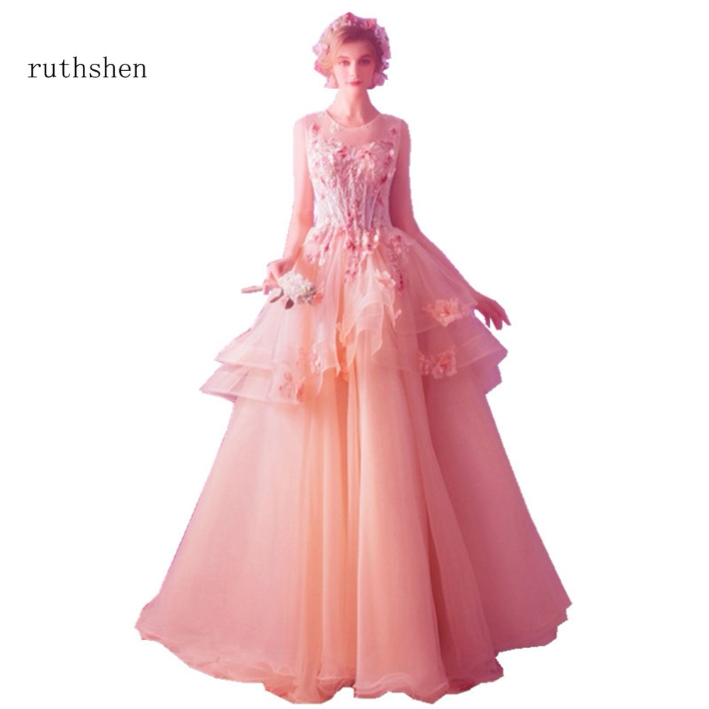 Orange Ärmel Kleider De Festa Perlen Prom Vestido Formale Ruthshen Langen Party Appliques 2018 Rüschen Sexy Rosa Kleid HdxAdnqwZ