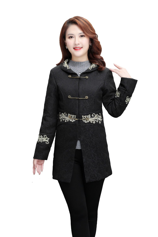 9479fa72ac47d3 Coton Femmes D hiver Shanghai Broder Style Manteau Nationale Histoire  Automne Femme Chinois Noir Longue Veste De Tendance Pour fwqz6f0