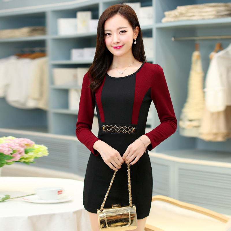 e394815763 free shipping canada robe femme2016new spring Korean high waist slim fit  package hip dress OL autumn work dress high end quality-in Dresses from  Women s ...