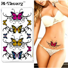 M-theory Sexy Butterfly Temporary Tattoos Sticker Henna Body Art Tatto Flash Tatoos Sticker 17x10cm Swimsuit Bikini Makeup Tools