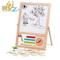 MWZ Kids Educational Drawing Board Wooden Double Faced Multifunctional Learning Toys For Chidlren Magnetic Wood Writing