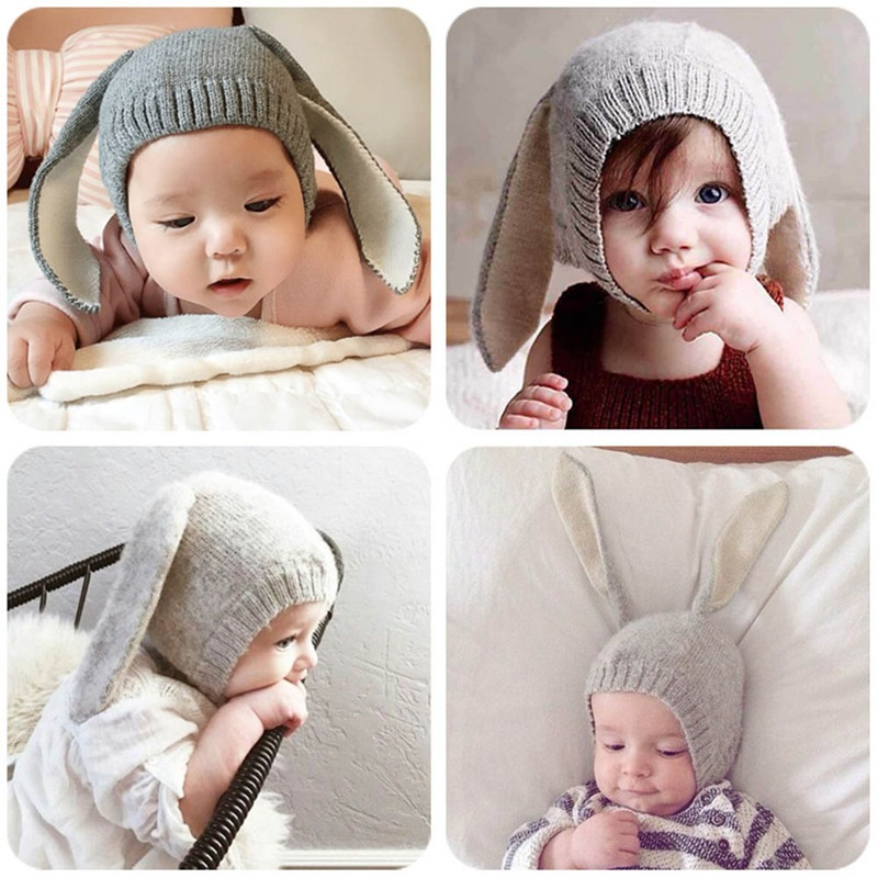 Rabbit Ears Baby Hats Soft Warm Hats Cute Toddler Kids Knitted Woolen Bunny Beanie Caps for Unisex Baby Newborn Photo Props(China)