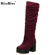 RizaBina women high heel over knee boots riding  snow boot warm botas militares winter heels footwear shoes P19385 size 34-43