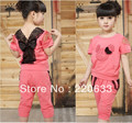 new 2016,fashion clothing sport suit for children baby girl,minnie mouse,lace summer clothes,short Tshirt+pants set  110-160