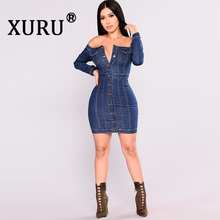 XURU New Womens Sexy Denim Dress One-Shoulder Single-breasted Skinny Bag Hip Washing