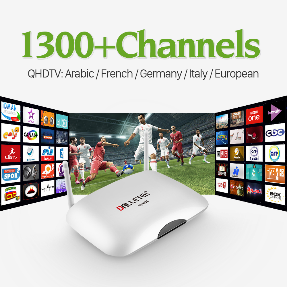 2017 Android Smart TV Box Quad Core 2.4G WIFI Media Player con 1300 Canales de I
