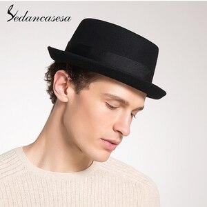 Image 5 - Sedancasesa 100% オーストラリアウール男性の fedora 帽子豚肉パイ帽子古典的な教会ウール 2020 ハットフェルト新秋冬