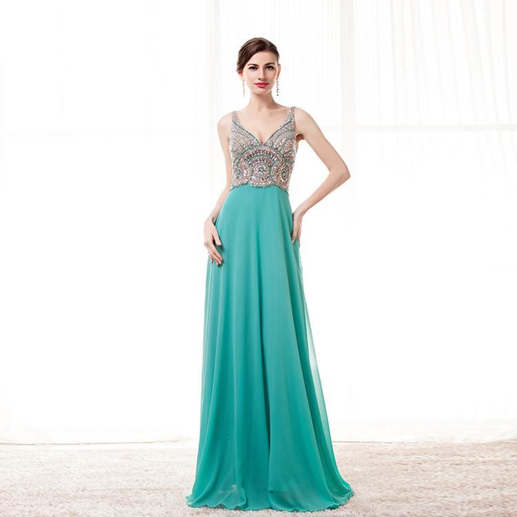 9feb5ecf1 Hunter Verde de Baile Vestidos de Gasa V Cuello Largo Vestido de ...