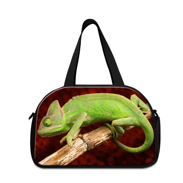Lizards Design Shoulder Travel Handbags For Men Animal Duffle Bag With Compartments Sporty Tote