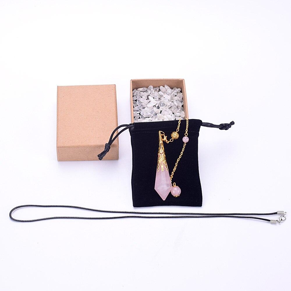 Fashion Pendulum Jewelry Natural Rose Quartz Healing Crystal Pendant Necklace Dowsing Reiki Chakra