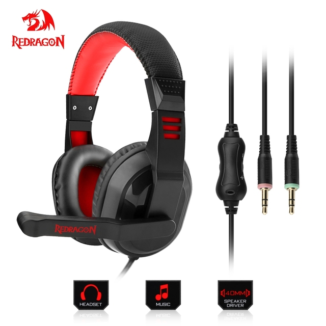 f1a42dbc38350d Redragon H101 Gaming Headphones Headset Deep Bass Stereo wired gamer  Earphone Microphone for PC Laptop computer