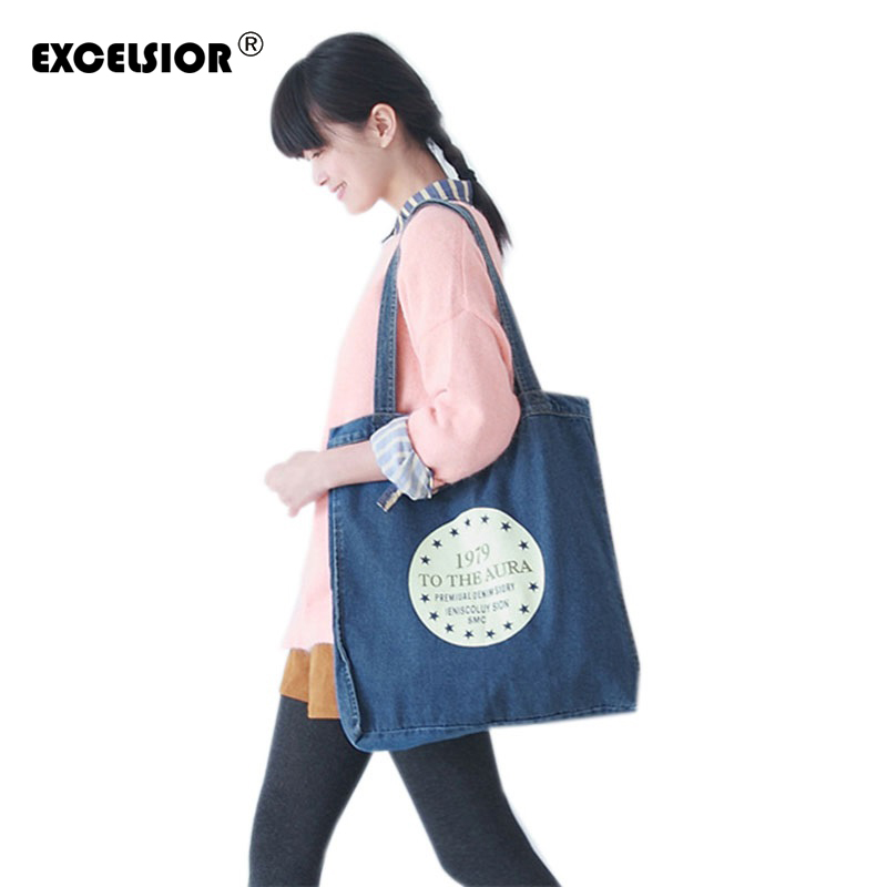 New Brand Jean Canvas Daily Open Shopping Bag Large Denim Tote Women Handbags Foldable Letters Ladies Single Shoulder Beach Bags excelsior women denim tote bag casual blue fabric plain jean top handle teenager slouch shopping shoulder crossbody bag eco
