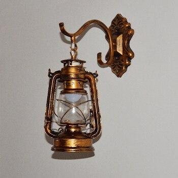 רטרו פנסי מנורות נפט ברים מסעדות בתי קפה ברזל מנורות קיר יצירתי אירופאית יחידה M