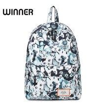Победитель Марка Для женщин холст рюкзак печать кошка Packbag Школьные сумки для подростков Обувь для девочек рюкзак для ноутбука 14 дюймов
