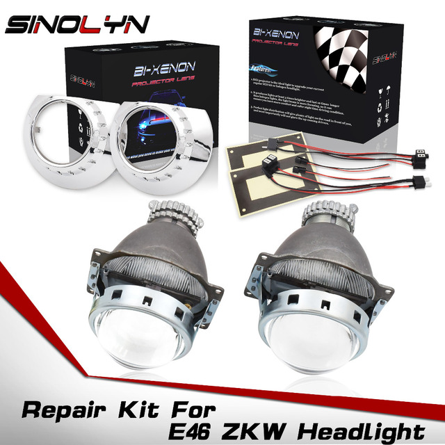 طقم تصليح عدسات ثنائية زينون لسيارات BMW E46 3 Series ZKW D2S زينون المصباح 1998 2005 عدسات HID ملحقات استبدال لتقوم بها بنفسك