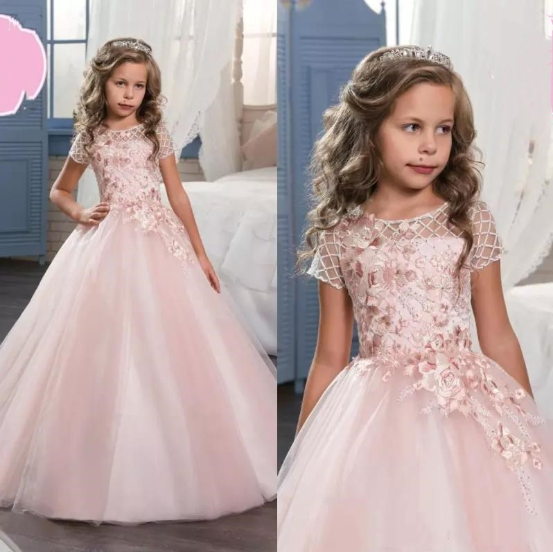 2017 Cute Pink Lace Flower Girl Dresses Wedding Gowns With Sleeves Jewel Neck Baptism Long Little Kids First Communion Pageant