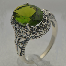 Victoria antique Silver Created Olive GreenStone Rings For Women 100% 925 Sterling Silver Princess Diana Engagement Wedding Ring