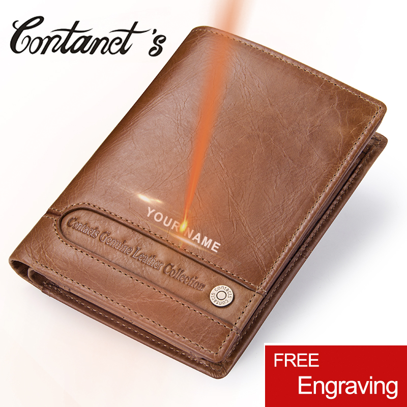 Contact's Man Wallet Genuine Leather Trifold Men Wallets Zipper Coin Purse Short Design Multifunction Money Bag With Card Holder slymaoyi classical men wallets genuine leather short wallet fashion zipper brand purse card holder wallet man with coin bag page 10
