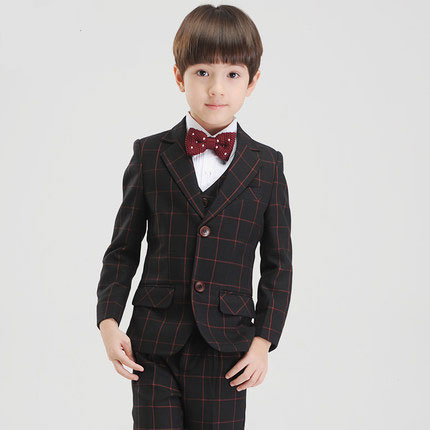 (Jackets+Vest+Pants+BowTie+Shirt) Boy Suits Flower girl Slim Fit Tuxedo Brand Fashion Bridegroon Dress Wedding Plaid Suit Blazer