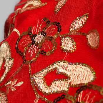 現代中国の伝統的なドレスロングチャイナ赤 xxxl フェニックスプラスサイズチャイナウェディングドレスフィッシュ赤レーススパンコール