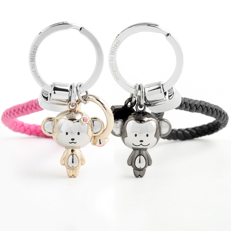 Milesi Lovers Keychain Monkey Shape Key Pendant Rhinestone Women Key Finder Fashion Men Car Keyring Cute Couple Gift K0197