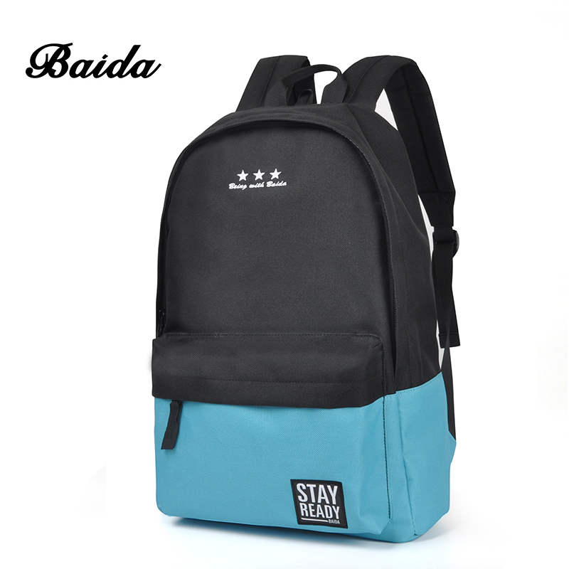 Baida Canvas School Backpack Men Teen Schoolbag Backpacks -9449