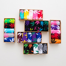 5 Pair Lot 2019 New Arrival Mens Hemp Socks Men 100% Cotton Funny Weed Long Crew Casual Gift Box Happy for Male