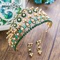 Новый Роскошный Зеленый Горный Хрусталь Жемчужина Королева Тиара Мода Золото Большой Диадема для Женщин Корона Свадебный Волосы ювелирные Аксессуары